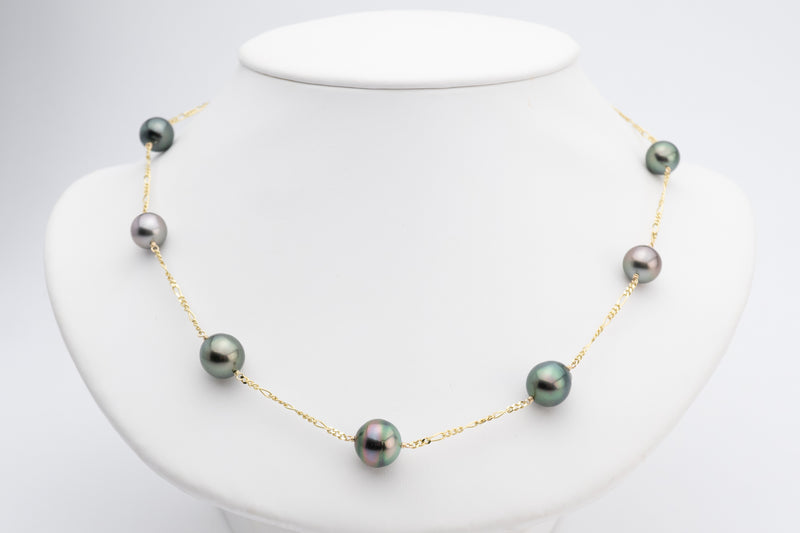 Semi-baroque pink green Tahitian pearl tin cup station necklace