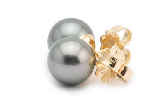 Light silver Tahitian pearl stud earrings