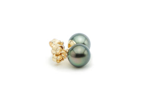 Black Tahitian pearl stud earrings