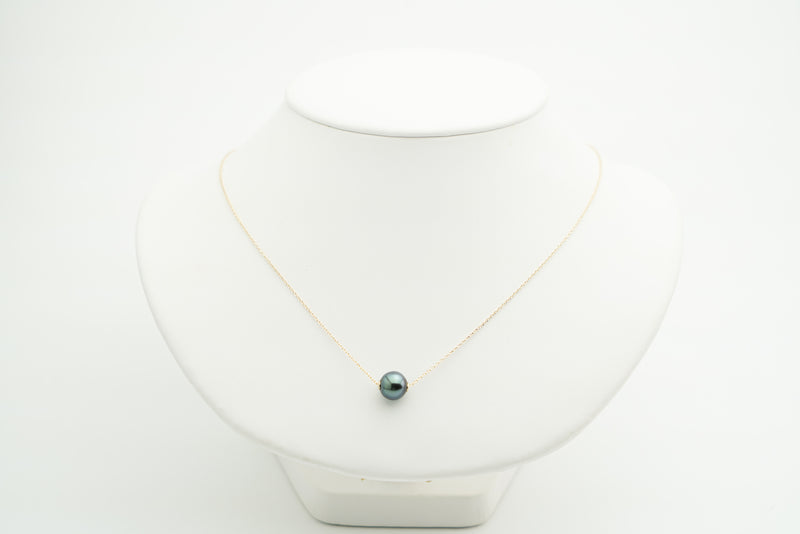 Dark bright blue green Tahitian pearl slider solitaire necklace