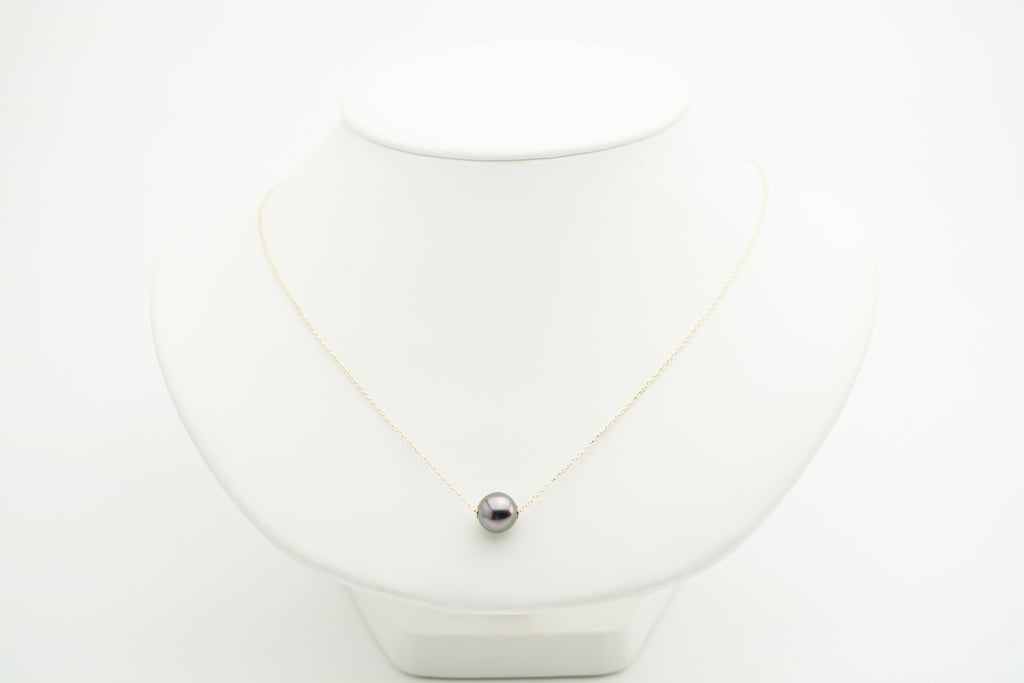 Pink pastel peacock Tahitian pearl solitaire chain necklace