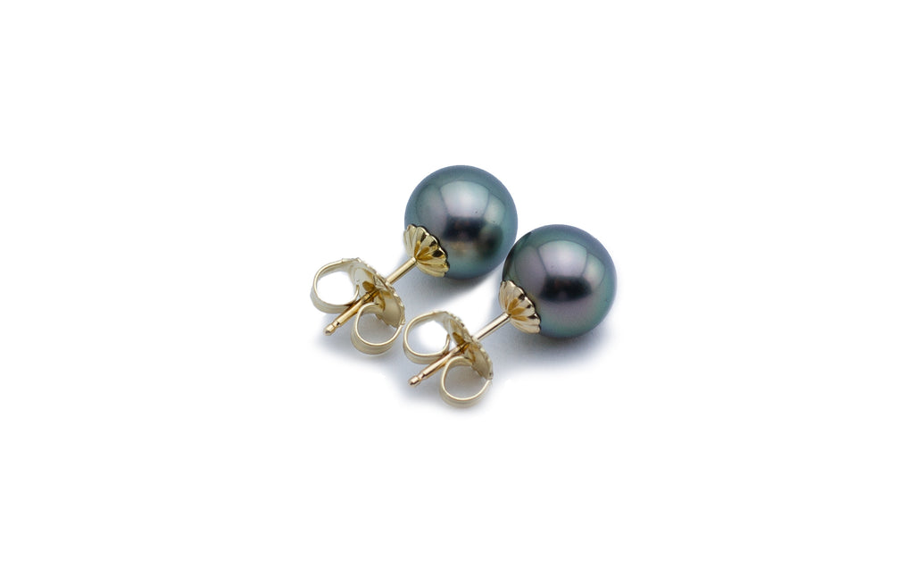 Aqua green blue Tahitian pearl stud earrings