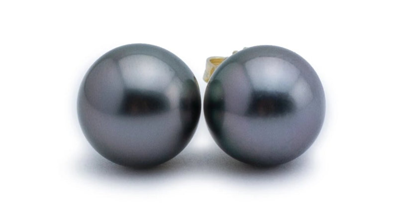 Silvery lavender Tahitian pearl stud earrings 10mm
