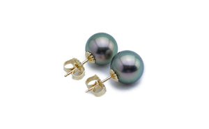 Light green peacock Tahitian pearl stud earrings