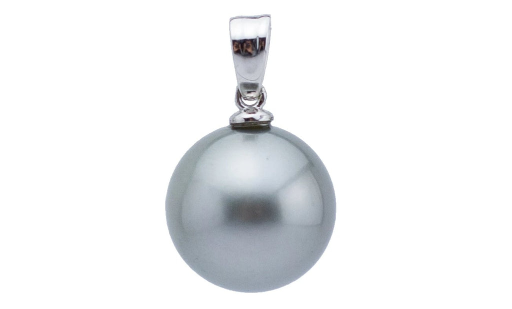 14.5mm round silvery gray Tahitian pearl pendant of 14K white gold