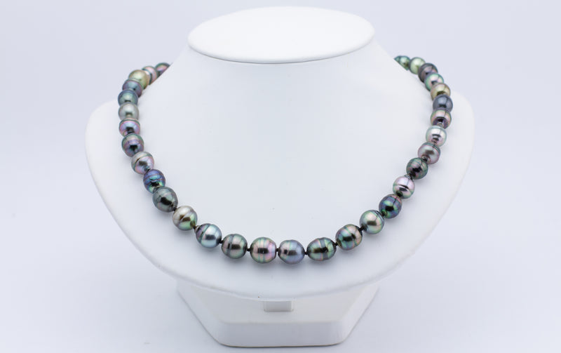 Colorful Kamoka circled baroque Tahitian pearl necklace