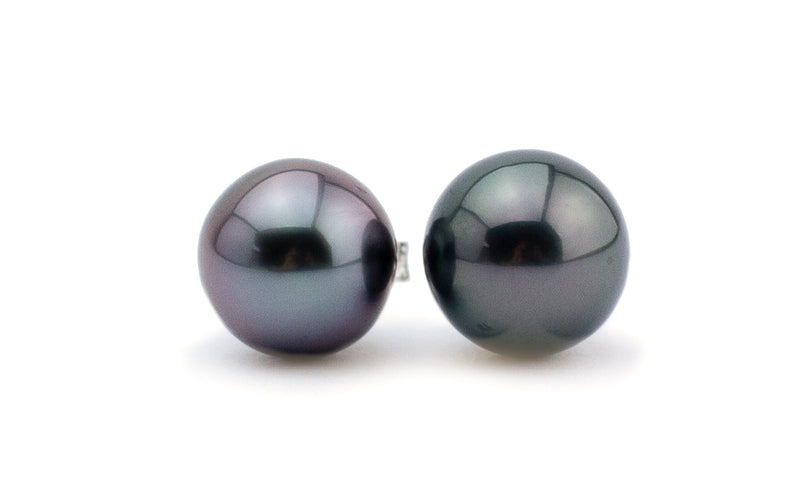 Purple Midnight Tahitian Pearl Stud Earrings