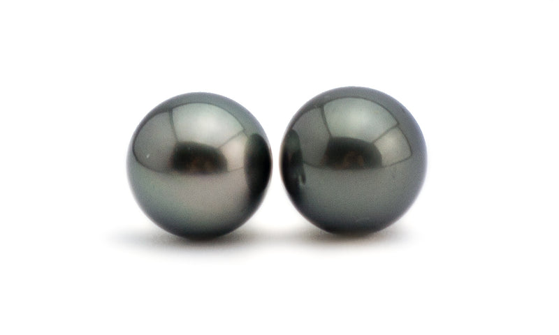 Stormy Night Tahitian Pearl Stud Earrings