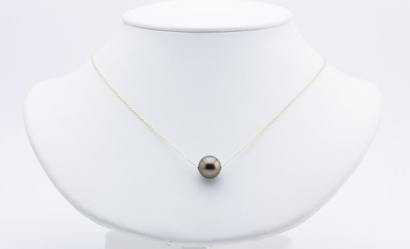 Golden Aubergine Peacock Tahitian Pearl Solitaire Necklace