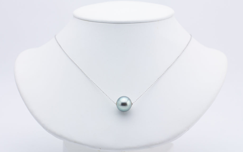 Light Green Peacock Statement Tahitian Pearl Solitaire Necklace