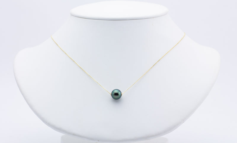 Dark bright peacock green blue 9mm Tahitian pearl chain slider necklace