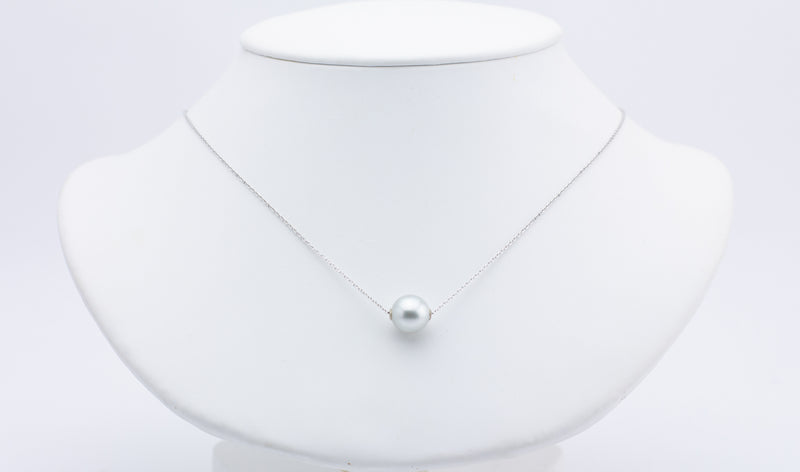 White Tahitian 10mm pearl solitaire chain necklace on 14K white gold