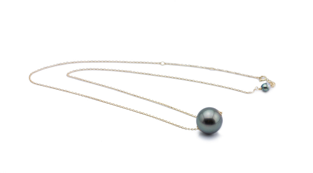 Stormy Green Statement Tahitian Pearl Solitaire Necklace