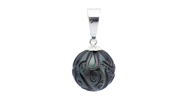 Peacock blue green carved Tahitian flower pearl pendant