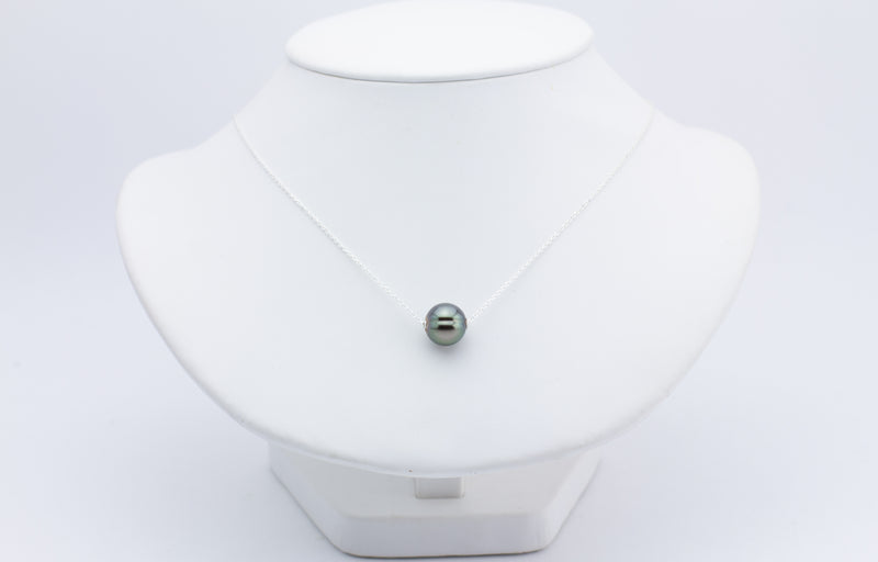 Green Saturn Statement Tahitian Pearl Solitaire Necklace