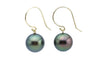 Peacock Green Tahitian Pearl Dangle Earrings
