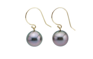 Purple Glow Tahitian Pearl Dangle Earrings