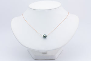 Green-Blue Oval on Rose Gold Tahitian Pearl Solitaire Necklace