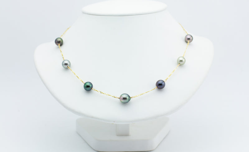 Multi-Colorful Tin Cup Tahitian Pearl Necklace