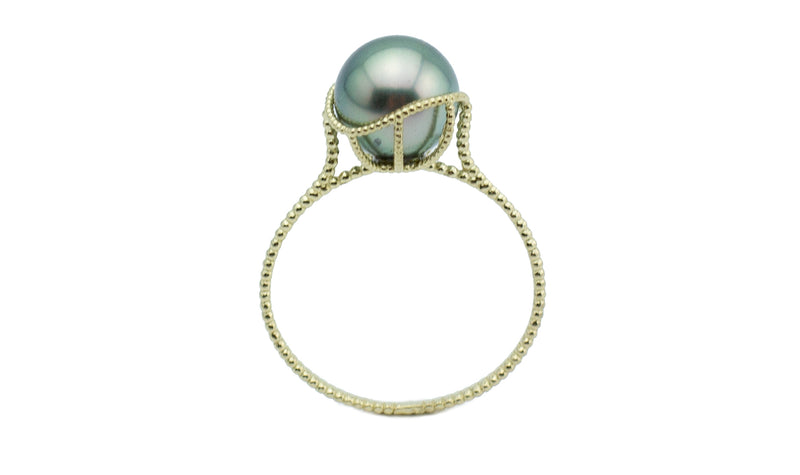 Sea Foam Green Tahitian Pearl Mermaid Ring