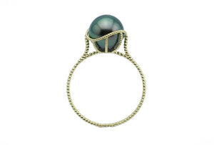 Emerald Green Tahitian Pearl Mermaid Ring
