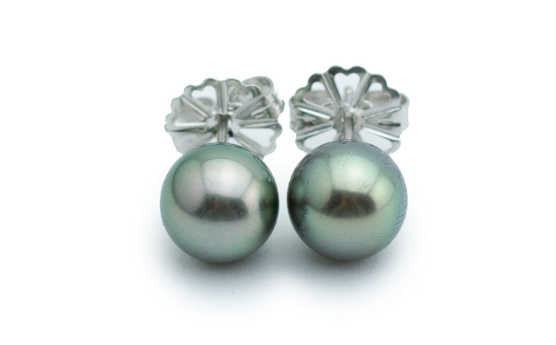 Petite Silvery Light Green Tahitian Pearl Stud Earrings