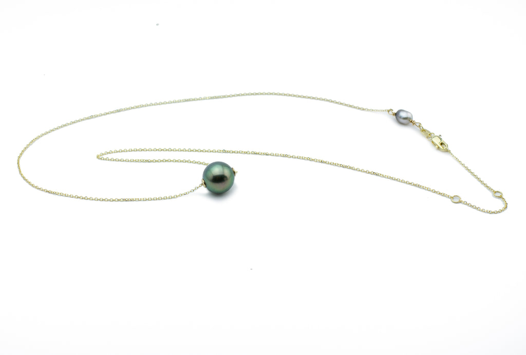 Lush Peacock Green Tahitian Pearl Solitaire Necklace