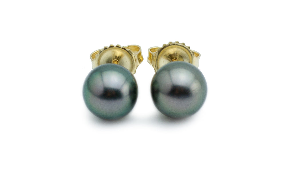 Petite Peacock Tahitian Pearl Stud Earrings