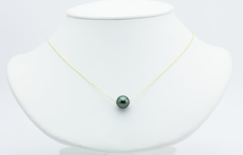 Bright Dark Green Tahitian Pearl Solitaire Necklace