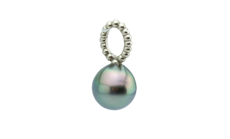 Petite Silvery Peacock Tahitian Pearl Pendant on White Gold