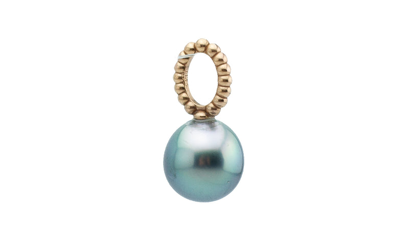 Petite Silvery Blue-Green on Rose Gold Tahitian Pearl Pendant