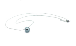 Stormy Blue Tahitian Pearl Solitaire Necklace on Silver