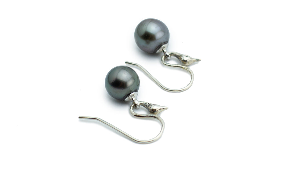 Bird of Paradise Tahitian Pearl Sterling Silver Earrings