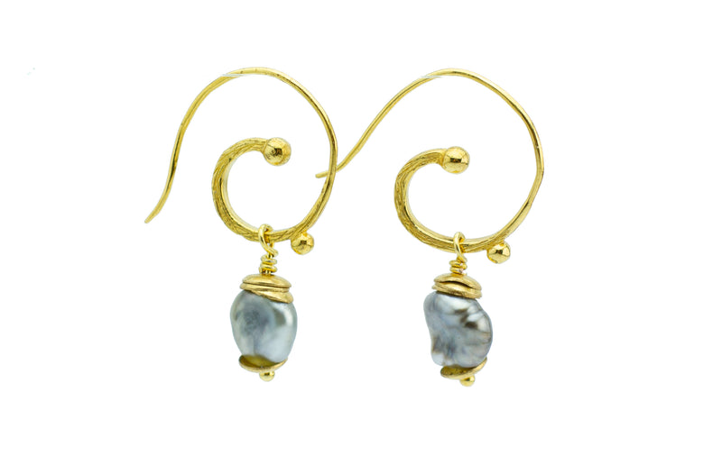Cascadia Tahitian Keshi Pearl 18KP Gold Hoop Earrings
