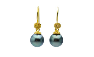 18K Bali Tahitian Pearl Dangle Earrings