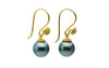 18K Bali Emerald Green Tahitian Pearl Dangle Earrings