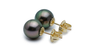 Perfect Peacock Tahitian Pearl Stud Earrings