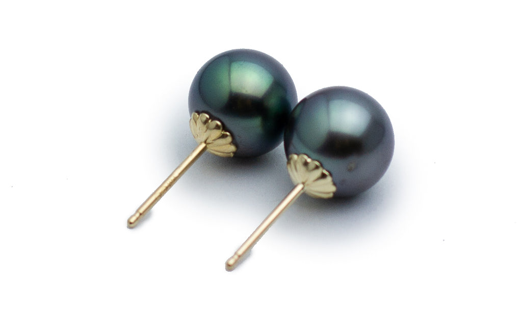 Dark Aqua Tahitian Pearl Stud Earrings