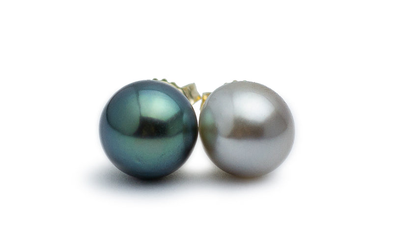 Black & White Tahitian Pearl Stud Earrings