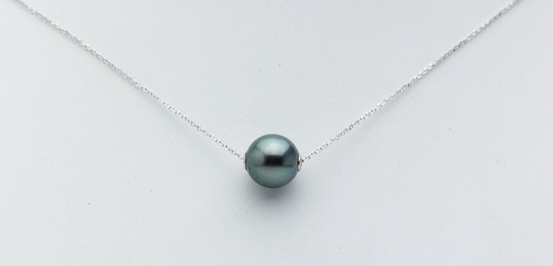 Dark Blue-Green Tahitian Pearl Solitaire Necklace