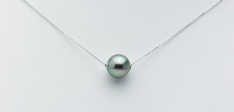 Light Green Peacock Tahitian Pearl Solitaire Necklace