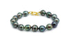 Bright circled baroque Tahitian pearl bracelet 18K gold