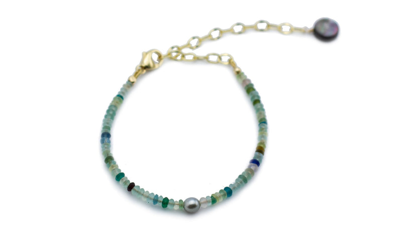 Ancient glass bead and Tahitian keshi pearl adjustable bracelet