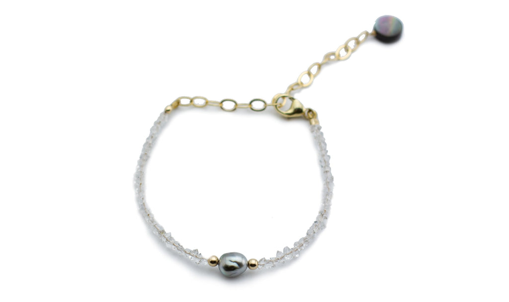 Herkimer diamond Tahitian keshi pearl adjustable bracelet