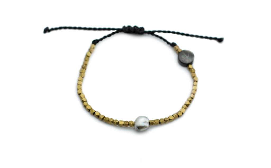 Tahitian keshi pearl and brass beaded adjustable knotted bracelet