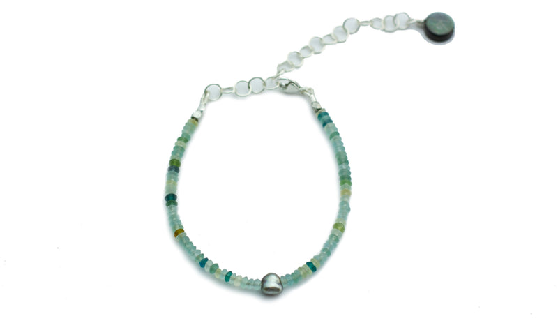 Tahitian keshi pearl and Roman glass bead bracelet