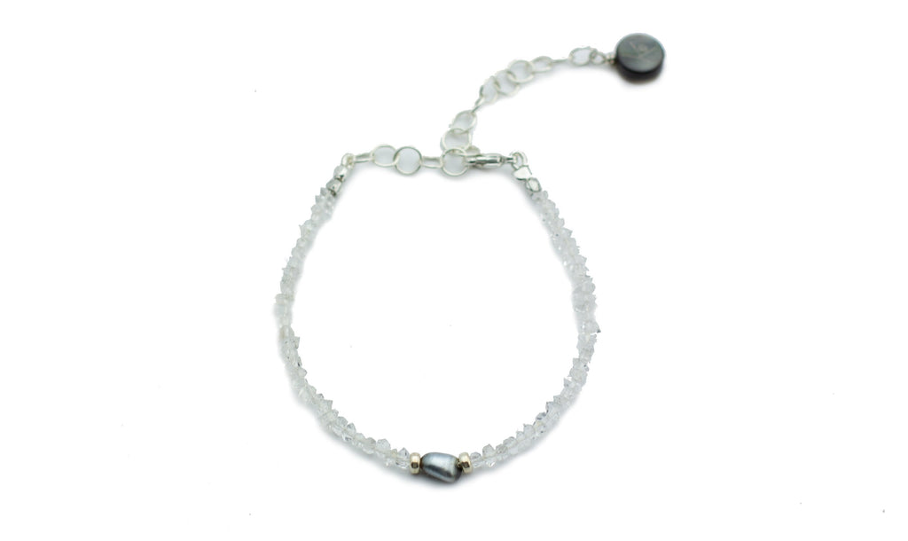 Tahitian keshi pearl and herkimer diamond  adjustable bracelet