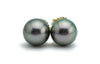 Pink pastel Tahitian pearl stud earrings 9.5mm