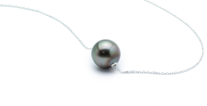 Pink to Green Oval Tahitian Pearl Solitaire Necklace