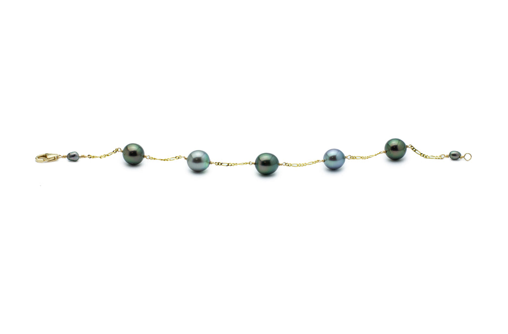 Tahitian pearl multi color Tin Cup bracelet